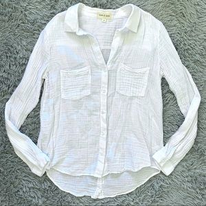 Cloth & Stone Anthropologie White Button Up Shirt